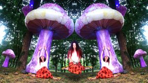 red head girl under huge psychedelic magic mushrooms