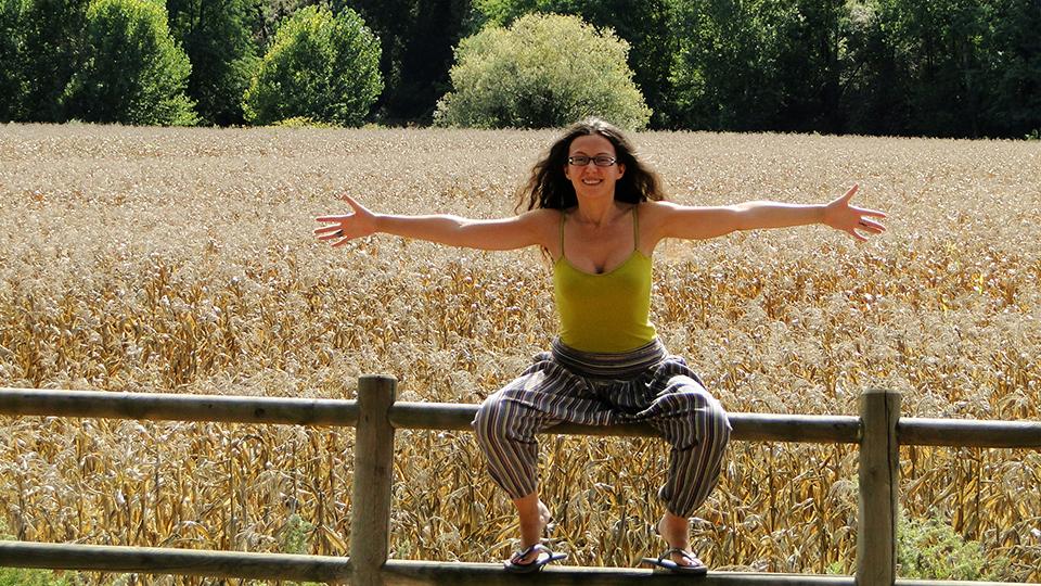 happy woman golden field freedom