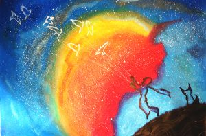Little Prince painting galaxy strong colors