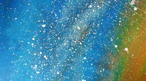 Micul Print pictura acrilice pe panza detaliu cer