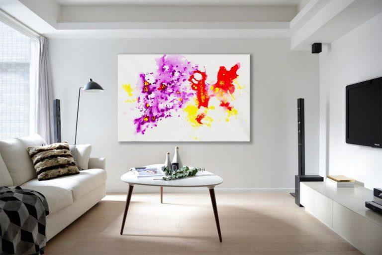pictura design interior acrilice pe panza de vanzare la reducere mov violet rosu galben acrilice pe panza