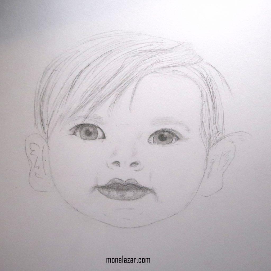 grafica desen in creion copil fetita frumoasa ochii vii