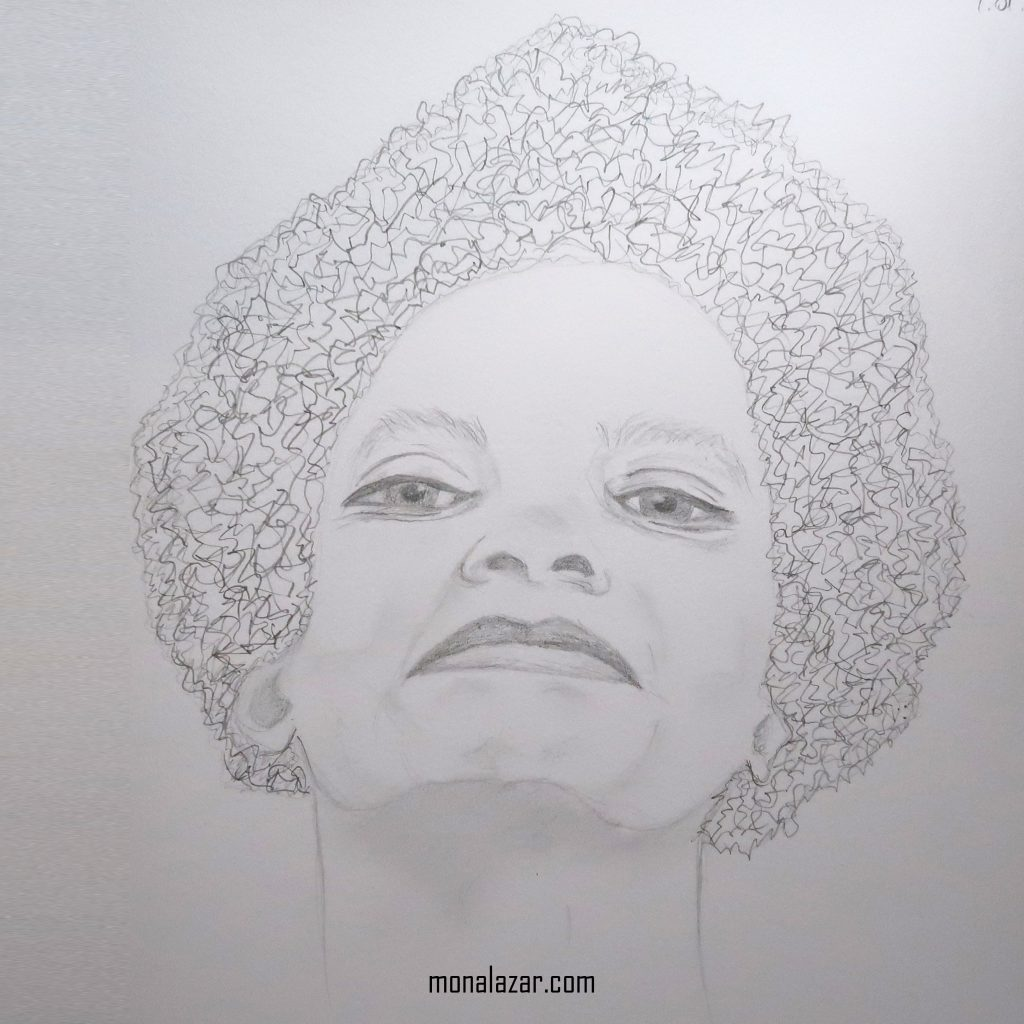 grafica desen in creion femeie ochii vii atitudine expresie complexa arta