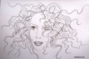 drawing graphics pensil graphite girl with long curly wild hair and vivid alive eyes beautiful woman art