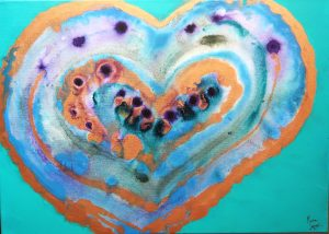 colorful heart paintingmixed media on canvas happy valentines day